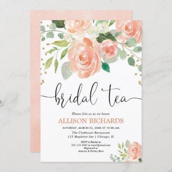 peach floral tea party bridal shower invitations