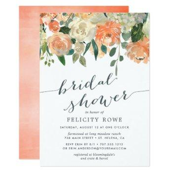peach midsummer floral | bridal shower invitation