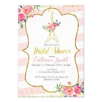 peach paris floral romantic bridal shower invitation