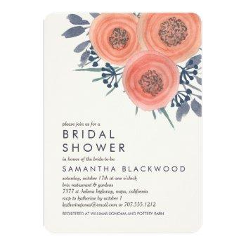 peach poppies bridal shower invitation