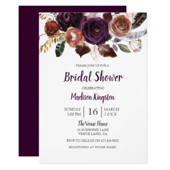 peach & purple cute floral bridal shower invite