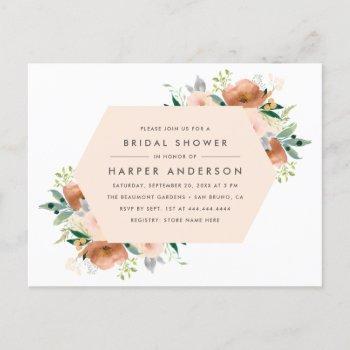 peach watercolor floral spring bridal shower invitation postcard