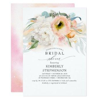 peach white and pink floral bohemian bridal shower invitation