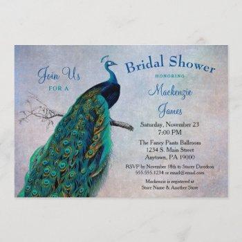 peacock bridal shower invitation vintage blue bird