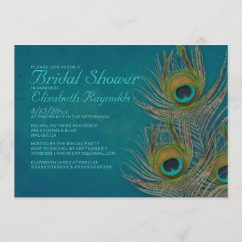 peacock feather bridal shower invitations