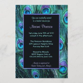 peacock feather drama - bridal shower invitation
