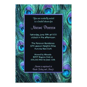 peacock feather drama - bridal shower invitation