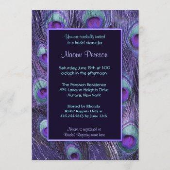 peacock feather purple drama - bridal shower invitation