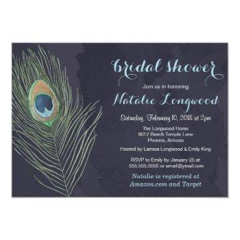 peacock feather watercolor baby or bridal shower invitation