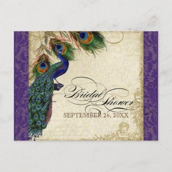 peacock & feathers formal bridal shower purple invitation postcard