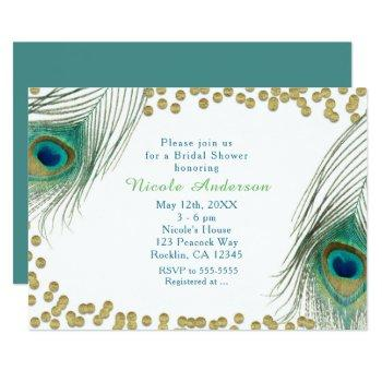 peacock feathers & gold dots boho glam invitation