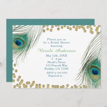 peacock feathers & gold dots boho glam invitation