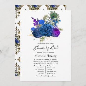 peacock floral baby or bridal shower by mail invitation