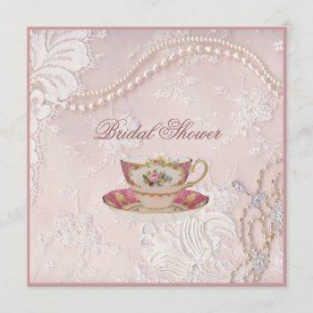 pearl blush pink lace bridal tea party invitation