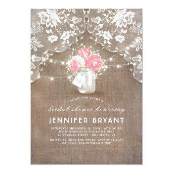 peonies mason jar lace and burlap bridal shower invitation