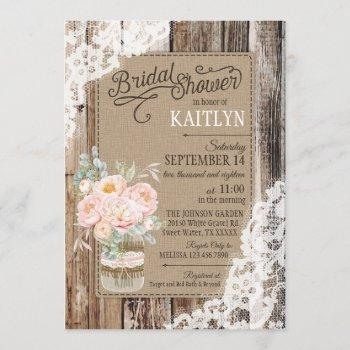 peony floral wood lace rustic bridal shower invitation