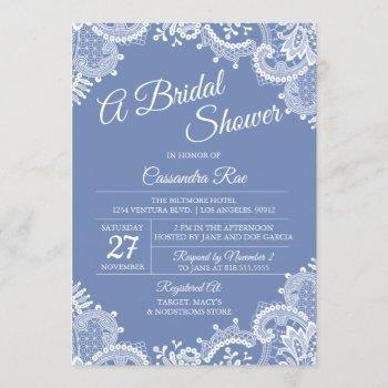 periwinkle and lace bridal shower invitation