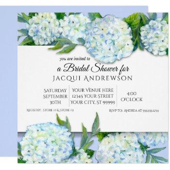 periwinkle n white hydrangeas floral bridal shower invitation