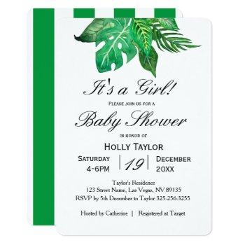 personalize tropical jungle baby shower invitation