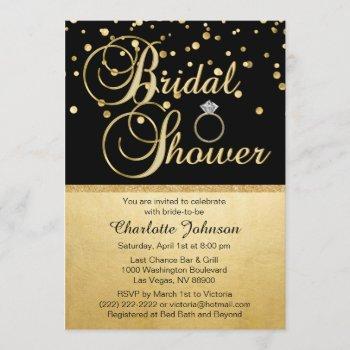 personalized gold black diamond ring bridal shower invitation