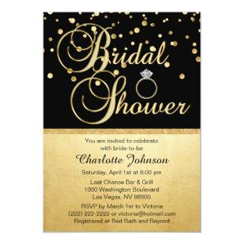 personalized gold black diamond ring bridal shower invitation