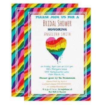 personalized  lgbt rainbow heart  bridal shower invitation