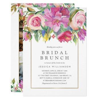 photo watercolor floral bridal brunch invitation