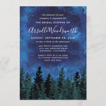 pine trees watercolor bridal shower invitations