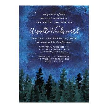 pine trees watercolor bridal shower invitations