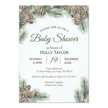 pinecones winter baby shower invitation
