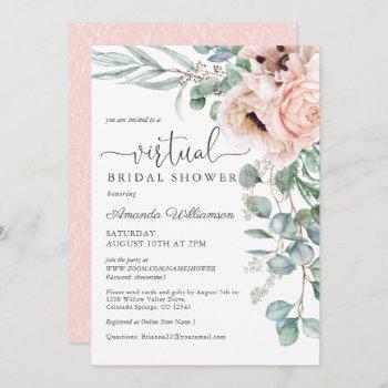 pink and beige floral virtual bridal shower invitation