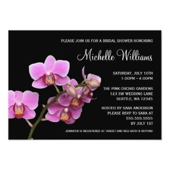 pink and black orchid bridal shower invitation