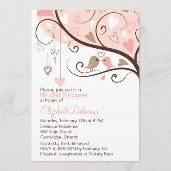 pink and brown love birds bridal shower invitation