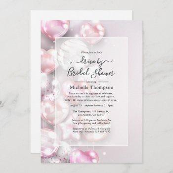 pink and rose gold drive by shower invitation