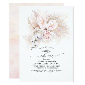 pink anthurium and pampas grass bridal shower invitation