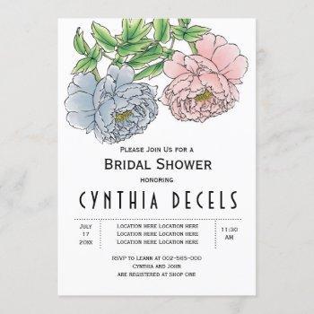 pink blue peony flowers wedding bridal shower invitation