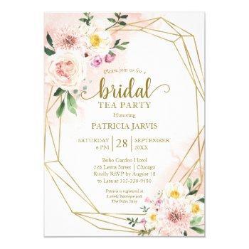 pink blush floral gold bridal shower tea party invitation