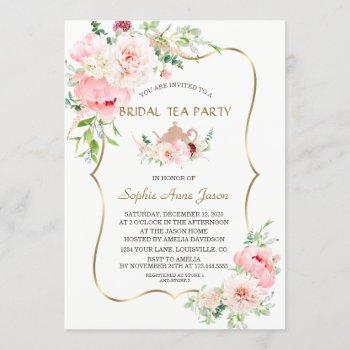 pink blush flowers gold bridal tea party invitation