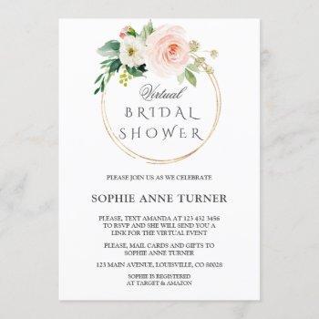 pink blush flowers virtual bridal shower by mail invitation