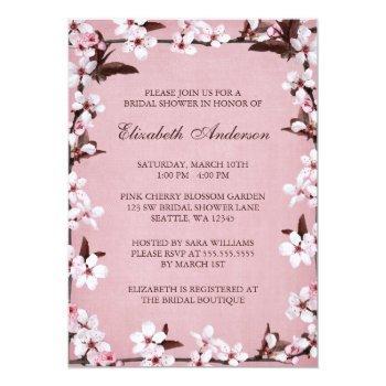 pink cherry blossoms border bridal shower invitation