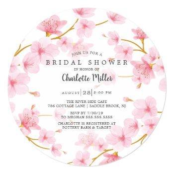 pink cherry blossoms  bridal shower invitation