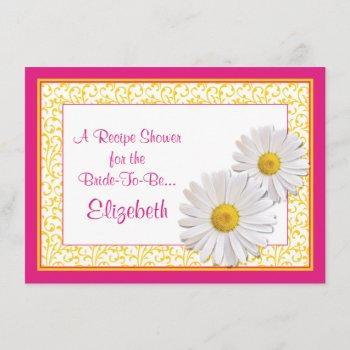 pink daisy recipe theme bridal shower invitation