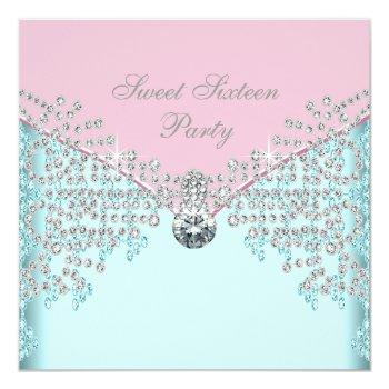 pink diamonds teal blue sweet sixteen birthday invitation