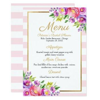 pink & faux foil gold floral bridal shower menu invitation