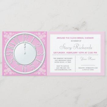 pink floral around the clock shower invite