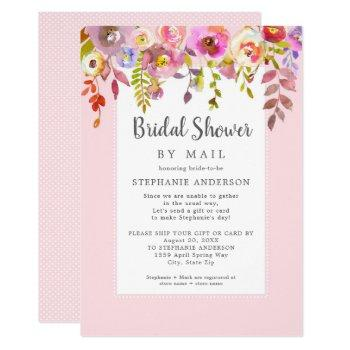 pink floral bridal shower by mail invitation
