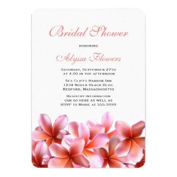 pink floral bridal shower tropical plumeria invitation
