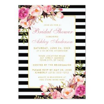 pink floral gold striped bridal shower invite p