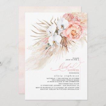 pink floral pampas grass bridal shower invitation