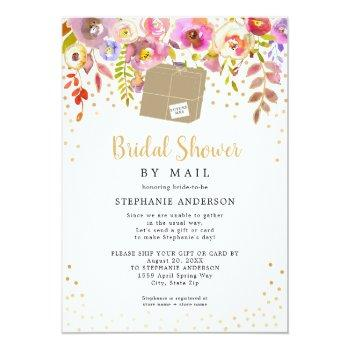 Pink Floral + Shipping Box Bridal Shower By Mail Invitation Front View